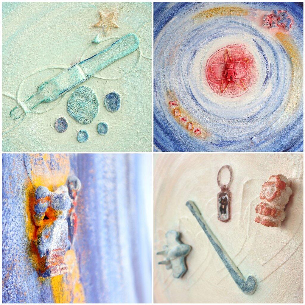 Voorbeelden van gebruik van voorwerpjes in een schilderij
