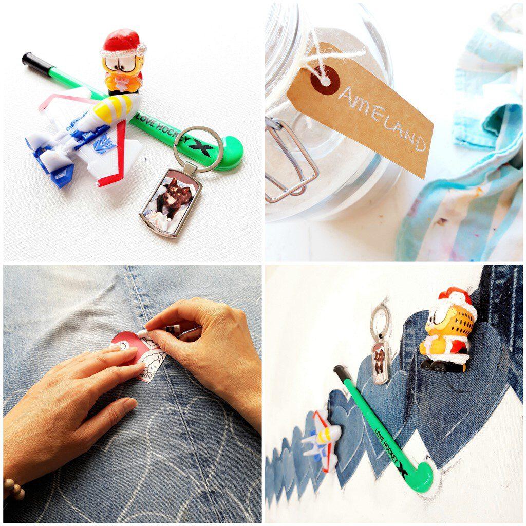 Schilderij in opdracht laten maken - Persoonlijk cadeau voor moeder - Voorbeeld gebruik voorwerpjes en materie
