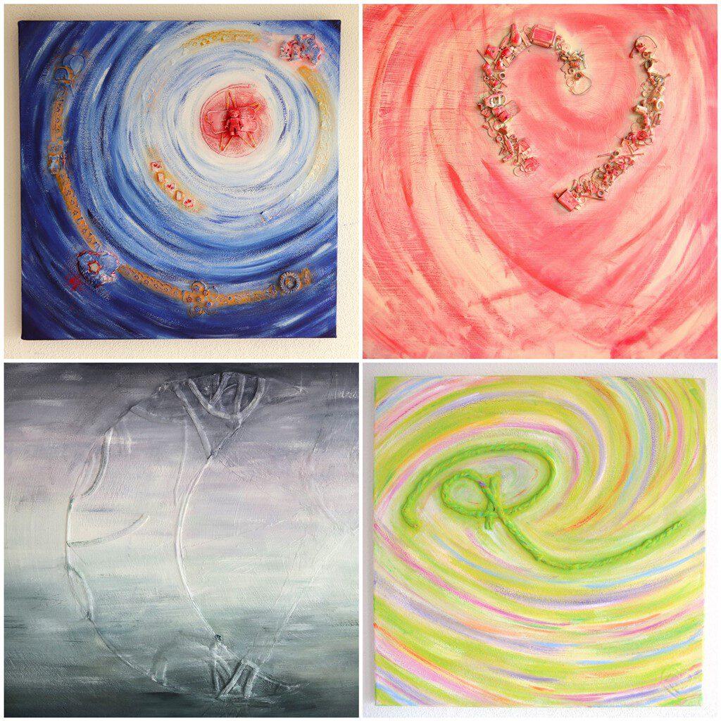 Voorbeelden van (details uit) herinneringsschilderijen - Marloes van Zoelen