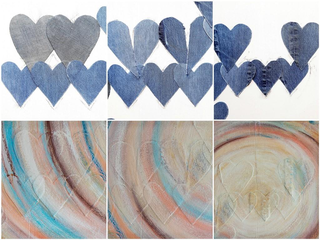 Persoonlijk schilderij - Voorbeeld van stoffen harten erin verwerkt