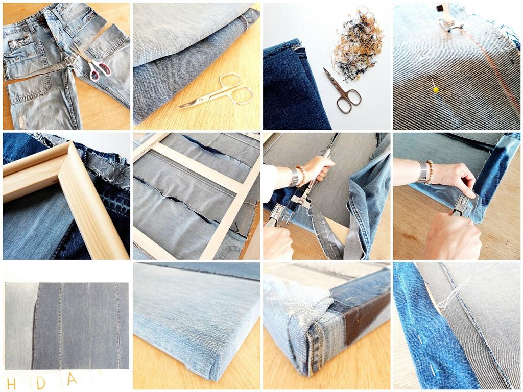 Zelf een schilderscanvas maken van oude spijkerbroeken - Marloes van Zoelen