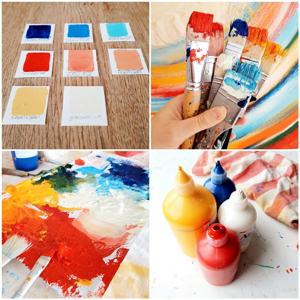 Persoonlijk schilderij op maat - voorbeeld primaire kleuren