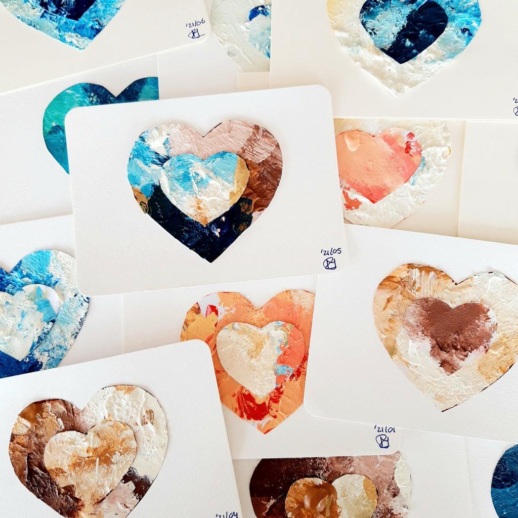 Duurzaam kunstwerk - voorbeeld kunstkaart van verfrestjes