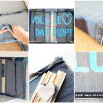Oude spijkerbroeken hergebruiken voor het maken van een schilderscanvas - Sfeercollage