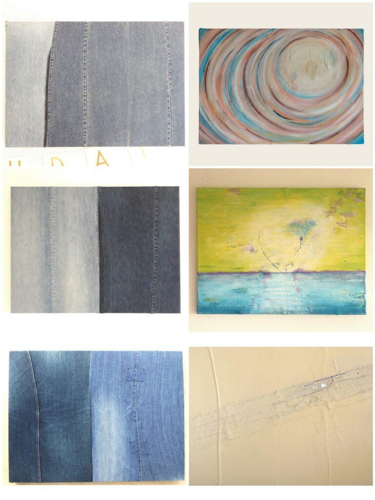 Oude spijkerbroeken hergebruiken voor het maken van een schilderscanvas - Voorbeelden