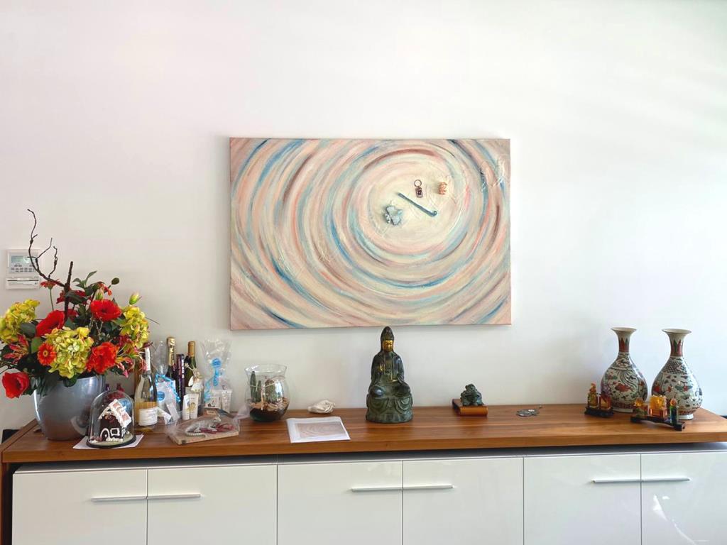 Persoonlijk schilderij 'Hechte verbinding'op de werkplek