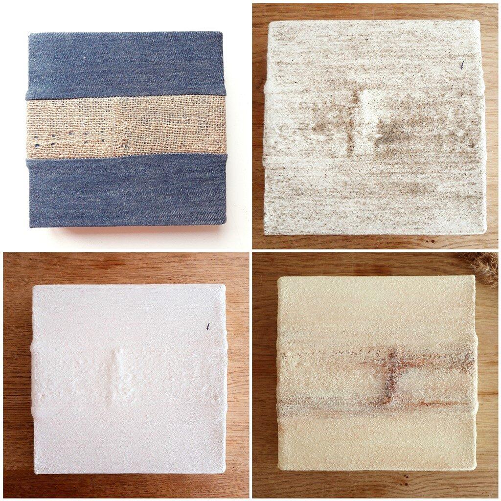Schilderij crème - Stilstaan - Making of collage