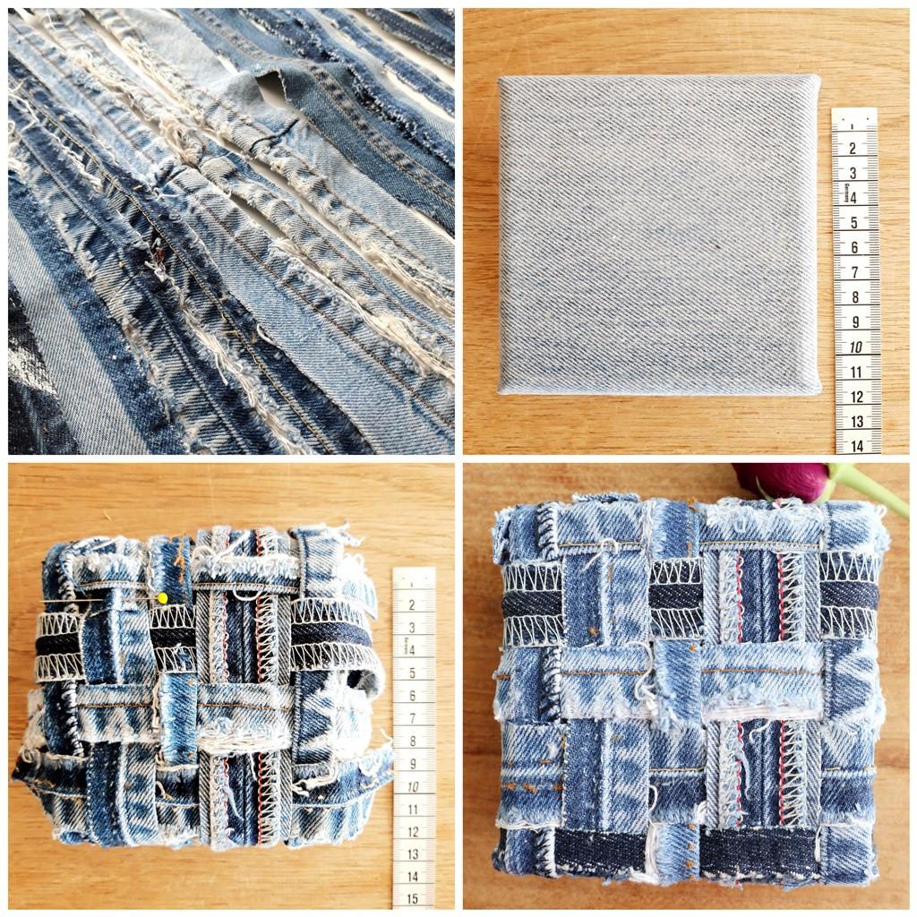 Jeans schilderij Innig verbonden I - Marloes van Zoelen - Making of