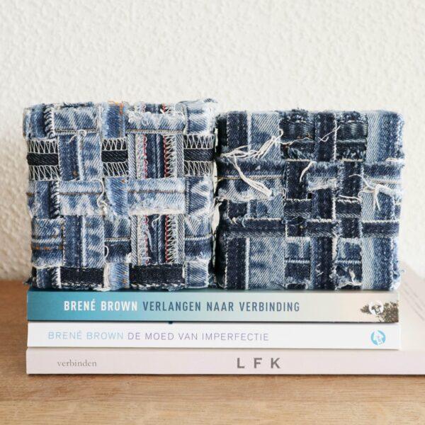Schilderij met lapjes stof - Innig verbonden -Tweeluik - Marloes van Zoelen