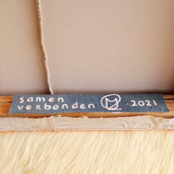 Tweeluik schilderij Samen verbonden - label achterzijde - Marloes van Zoelen