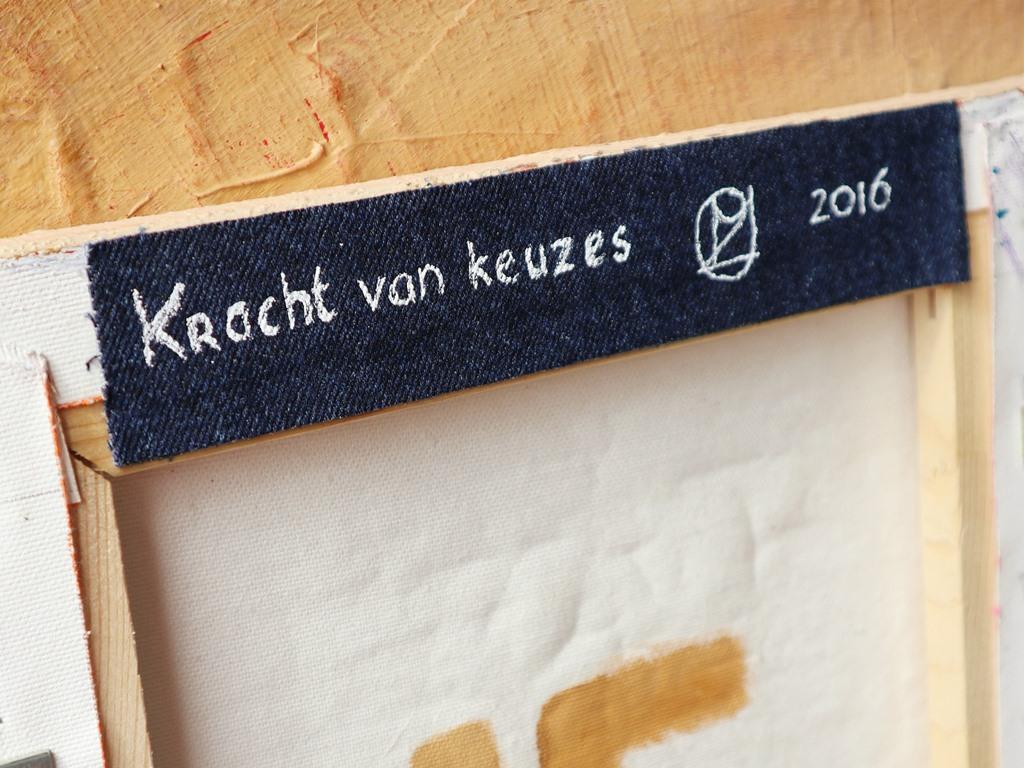 Schilderij met verhaal: De kracht van keuzes - Detail label achterzijde - Marloes van Zoelen