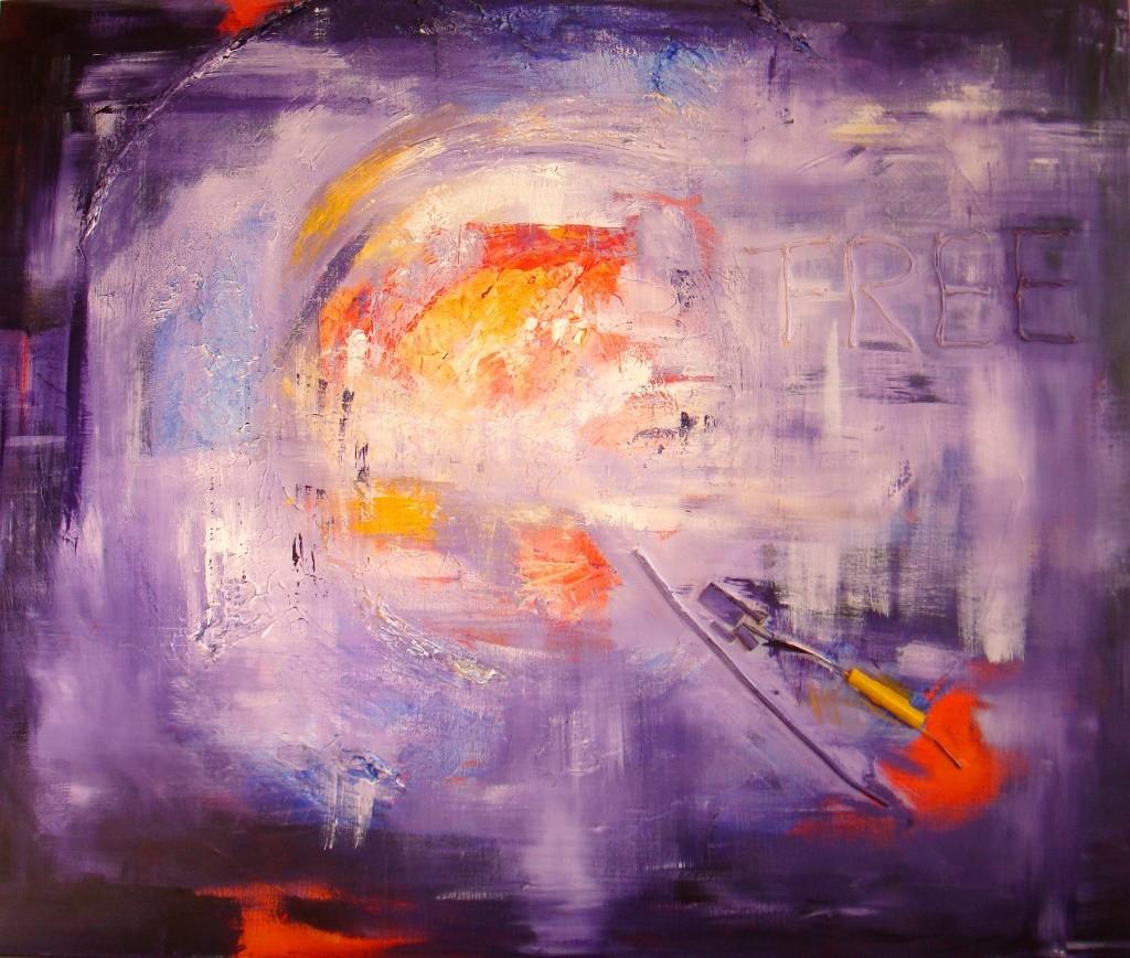 Paars schilderij van 100 x 120 cm met stukjes metaal erin verwerkt.