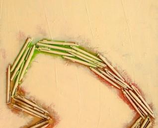 Abstract, 3D schilderij van 120 x 60 cm met een hart van balpennen erop.