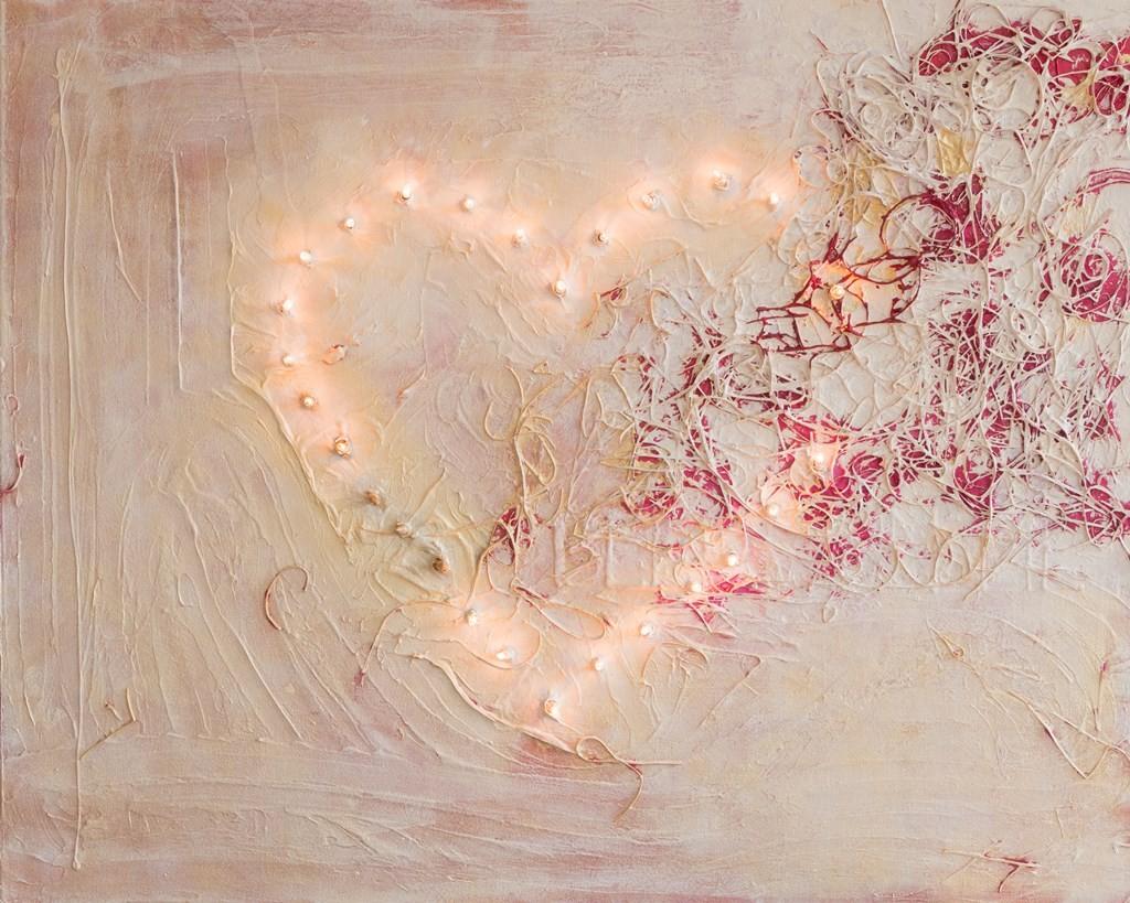 Schilderij Verlicht hart - Abstract, mixed media, 80 x 100 cm met (kerst)lichtjes
