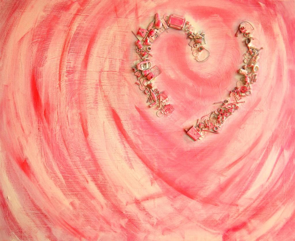 Herinneringsschilderij van Marloes van Zoelen met een hart van troepjes erop